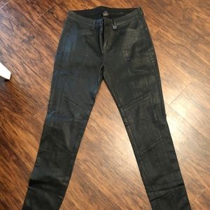 Pants - Black leather textured pants